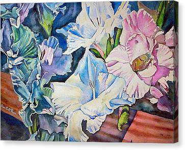 Glads On The Deck Canvas Print by June Conte  Pryor