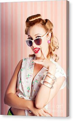 Glamorous Retro Blonde Girl Thinking Fashion Ideas Canvas Print by Jorgo Photography - Wall Art Gallery