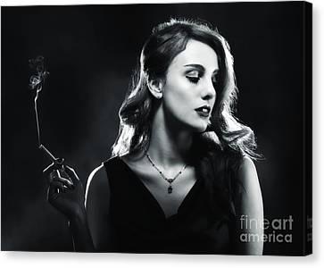 Glamorous Woman Smoking Canvas Print by Amanda Elwell