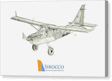 Glasair Sportsman Tc With Sirocco Design Corp. Winglets Logo 3 Canvas Print by Nicholas Linehan