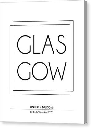 Glasgow City Print With Coordinates Canvas Print