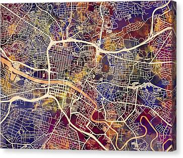 Glasgow Street Map Canvas Print by Michael Tompsett