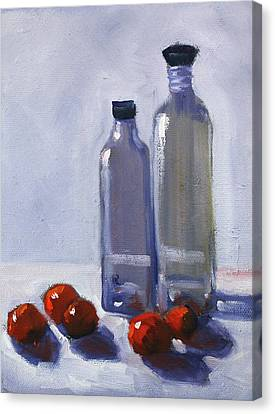 Loose Style Canvas Print - Glass And Cherries by Nancy Merkle