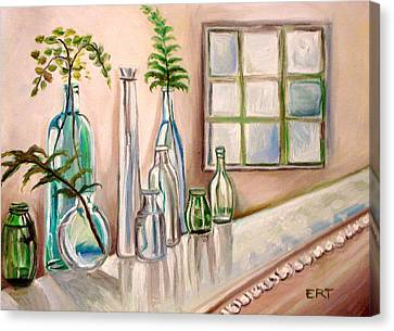 Canvas Print featuring the painting Glass And Ferns by Elizabeth Robinette Tyndall