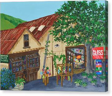 Canvas Print featuring the painting Glass Blower Shop Harmony California by Katherine Young-Beck