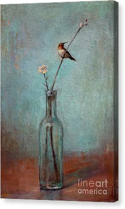 Glass Bottle And Hummingbird Canvas Print by Lori  McNee