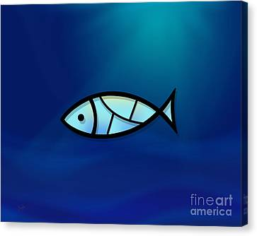 Turquoise Stained Glass Canvas Print - Glass Fish by Peter Awax