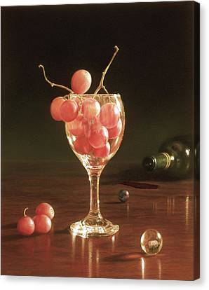 Glass Grapes And Marbles Canvas Print by Barbara Groff