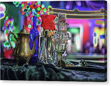 Glass In The Frame Of Colorful Hearts Canvas Print by Kenneth James