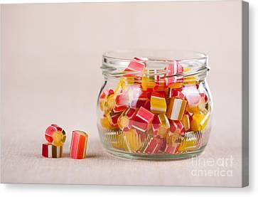Glass Jar Full Of Tutti-frutti Sugar Candies  Canvas Print by Arletta Cwalina