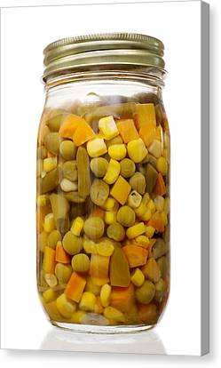 Glass Jar Of Preserved Mixed Vegetables Canvas Print