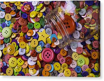 Glass Jar With Buttons Canvas Print by Garry Gay