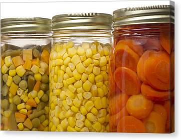 Glass Jars Of Preserved Mixed Vegetables Canvas Print