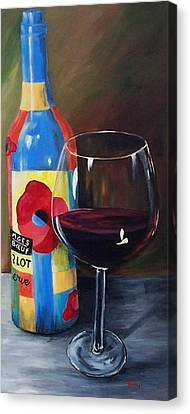 Glass Of Merlot   Canvas Print by Torrie Smiley