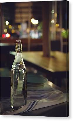 Canvas Print featuring the photograph Glass Water Bottle by April Reppucci