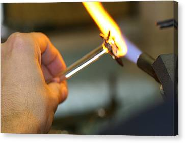 Lampworking Canvas Print - Glassblower At Work by Amelia Painter