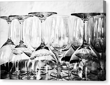 Glasses On A Barrel In Mono Canvas Print by Georgia Fowler