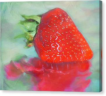Glazed Strawberry Love Canvas Print by Hal Halli