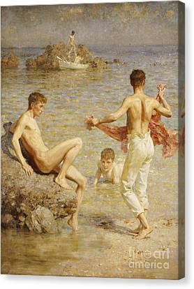 Gleaming Waters Canvas Print by Henry Scott Tuke