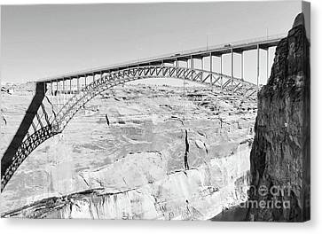 Glen Canyon Bridge Bw Canvas Print