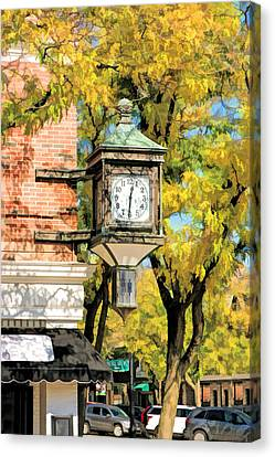 Canvas Print featuring the painting Glen Ellyn Corner Clock by Christopher Arndt