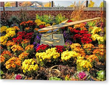 Canvas Print featuring the painting Glen Ellyn Millennium Flower Clock by Christopher Arndt