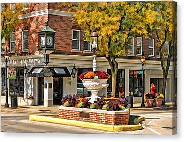 Canvas Print featuring the painting Glen Ellyn Watering Fountain by Christopher Arndt