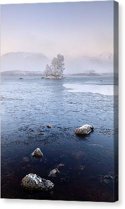 Canvas Print featuring the photograph Glencoe Misty Winter Sunrise by Grant Glendinning