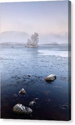Canvas Print featuring the photograph Glencoe Misty Winter Sunrise by Grant Glendinning
