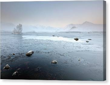Canvas Print featuring the photograph Glencoe Frozen Misty Winter Sunrise by Grant Glendinning