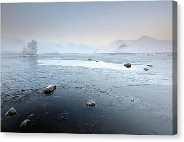 Canvas Print featuring the photograph Glencoe Frozen Misty Winter Sunrise by Grant Glendinning