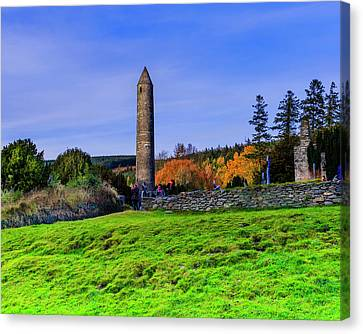 Glendalough Meadow And Tower Canvas Print