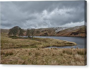 Canvas Print featuring the photograph Glendevon Reservoir In Scotland by Jeremy Lavender Photography
