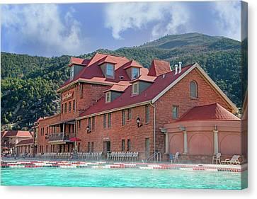 Diving Board Canvas Print - Glendwood Hot Springs Colorado  by Betsy Knapp