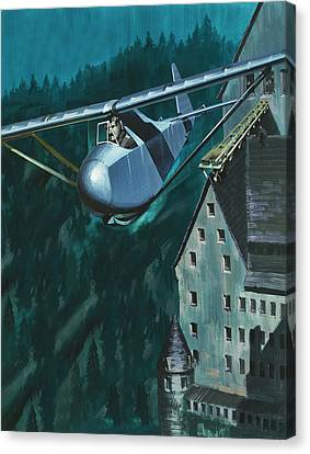 Glider Escape From Colditz Castle Canvas Print by Wilf Hardy
