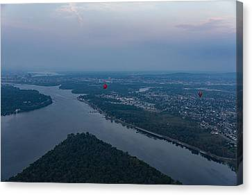 Gliding Over Ottawa River - A Hot Air Balloon Liftoff In The Morning Fog  Canvas Print by Georgia Mizuleva