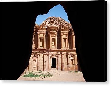 Glimpse Of The Monastery. Petra, Jordan. Canvas Print by Nicholas Tinelli