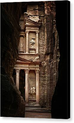 Petra Canvas Print - Glimpse Of Treasury by David Lazar
