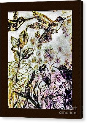 Matting Canvas Print - Glittering Hummingbirds by Debra Lynch