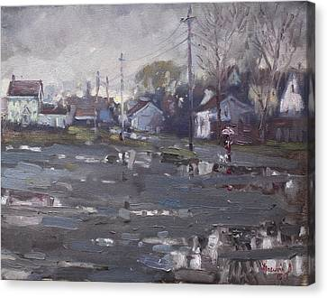 Rainy Day Canvas Print - Gloomy And Rainy Day By Hyde Park by Ylli Haruni