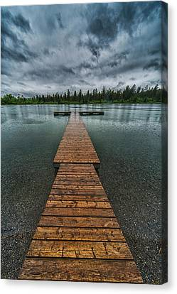 Canvas Print featuring the photograph Gloomy Rainy Day On Norbury Lake by Darcy Michaelchuk