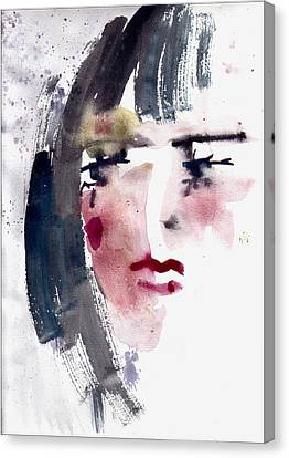 Canvas Print featuring the painting Gloomy Woman  by Faruk Koksal