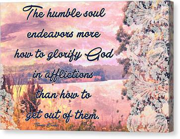 Glorify God In Afflictions Canvas Print by Michelle Greene Wheeler