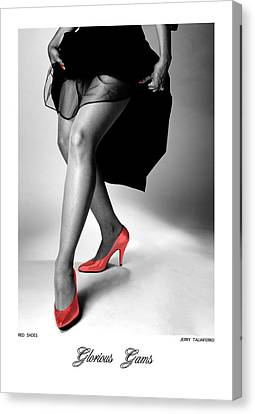 Glorious Gams - Red Shoes Canvas Print by Jerry Taliaferro