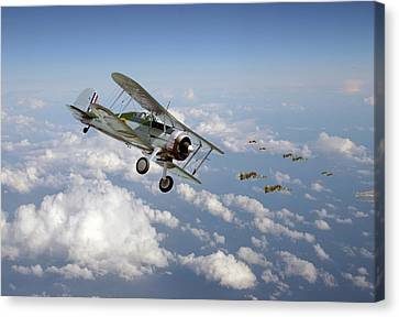 Canvas Print featuring the digital art  Gloster Gladiator - Malta Defiant by Pat Speirs