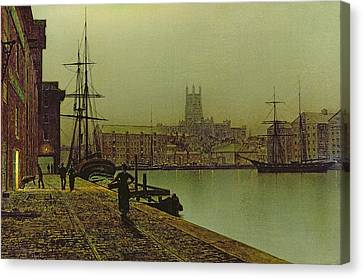 Gloucester Docks Canvas Print by John Atkinson Grimshaw