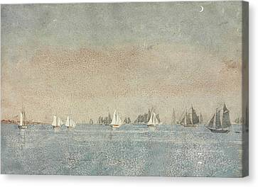 Gloucester Harbor Fishing Fleet Canvas Print by Winslow Homer