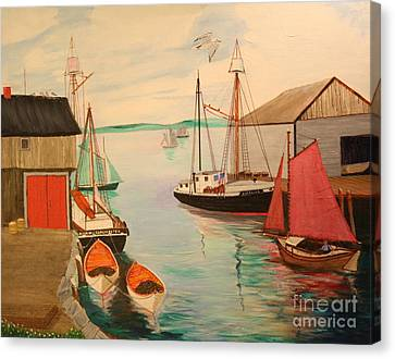 Gloucester Harbor - Mackerel Seiners 1933 Canvas Print