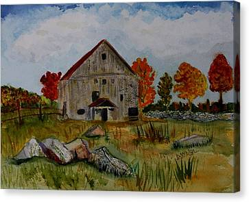 Canvas Print featuring the painting Glover Barn In Autumn by Donna Walsh