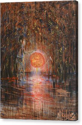 Canvas Print featuring the painting Glow In The Dark by Nik Helbig